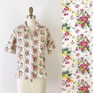 Vintage Floral 1950s Button Up Shirt Cotton M570